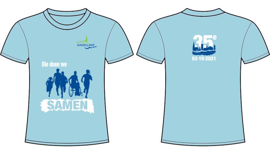 """Het jubileum loopshirt voor de 35e editie van de AMGEN Singelloop Breda is een lichtblauw shirt met op de voorzijde een visual van alle lopers van de Bredase Singelloop, dus jong, oud en minder validen. Op de voorzijde staat de slogan """"Die doen we samen."""" Op de achterzijde staat het jubileum datum-logo 2021 weergegeven."""